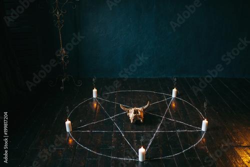 Obraz na plátně Pentagram circle with candles on wooden floor