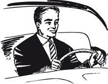 Man Behind The Wheel, Retro Vector Illustration