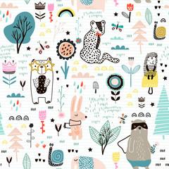 Seamless childish pattern with fairy flowers, bear,bunny, leopard, hedgehog.....
