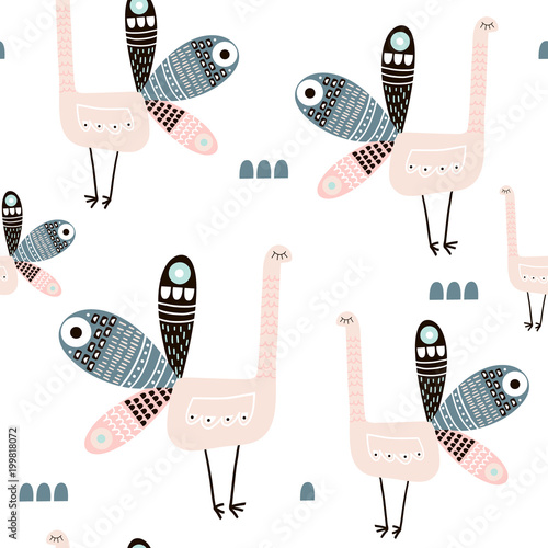 Cotton fabric Seamless pattern with creative peacocks. Creative scandinavian modern texture for fabric, wrapping, textile, wallpaper, apparel. Vector illustration