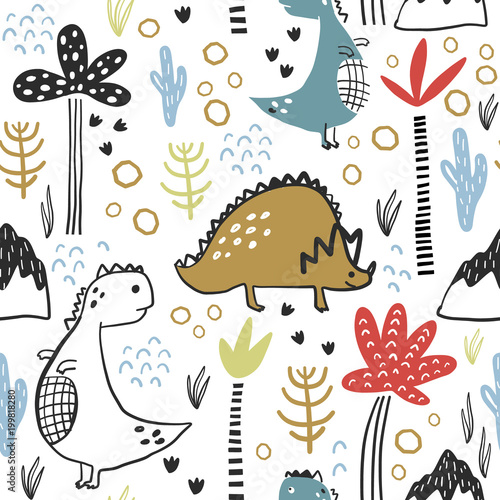 Cotton fabric Childish seamless pattern with hand drawn dino, palm trees and dhand drawn shapes in scandinavian style. Creative vector childish background for fabric, textile