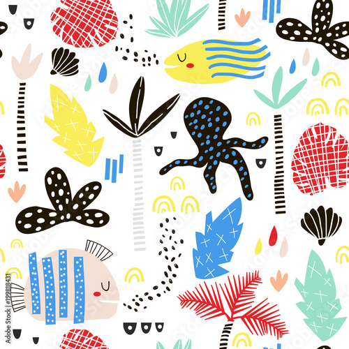 Seamless childish pattern with fish, octopust, palm tree, leaf and hand drawn shapes. Creative summer kids texture for fabric, wrapping, textile, wallpaper, apparel. Vector illustration Wall mural