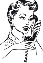 Woman On Telephone, Retro Vector Illustration