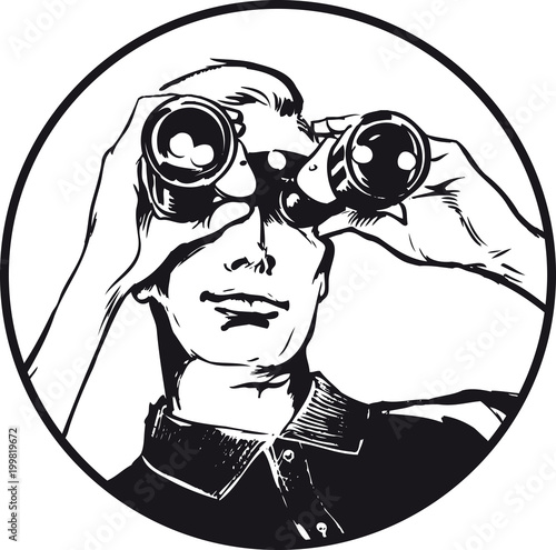 Photo Man with binoculars, Retro Vector Illustration