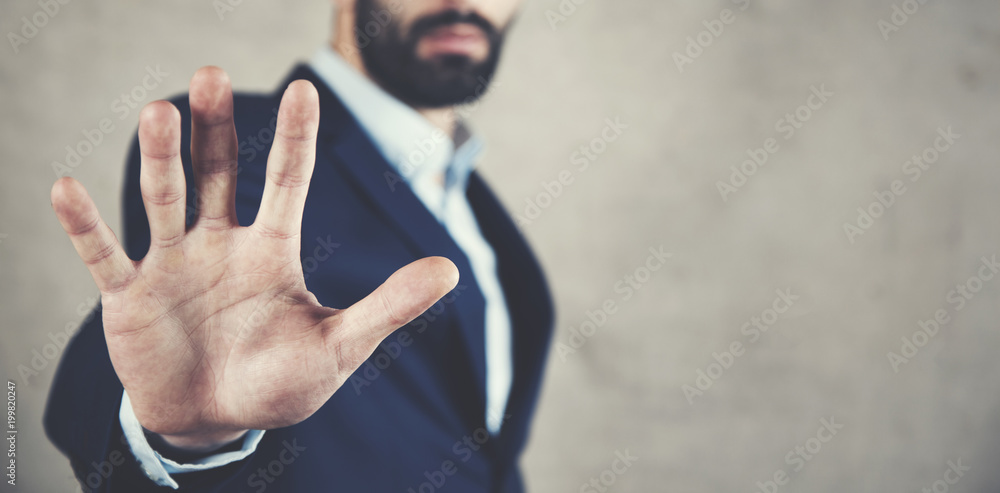 Fototapety, obrazy: man hand stop or no sign