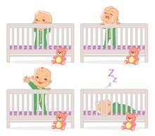 Little Baby In Crib. Baby Boy ...