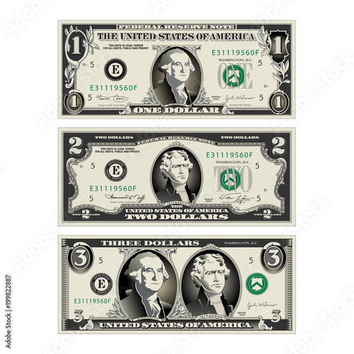 in this graphic the 1 and 2 dollar bills are mereged to make a 3