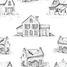 Seamless Background Pattern With Three Old Houses. Graphic Hand Drawn Illustration