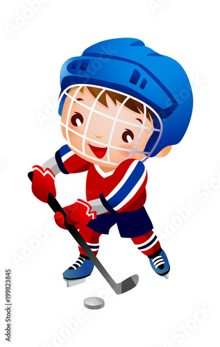 Boy ice hockey player Wallpaper Mural