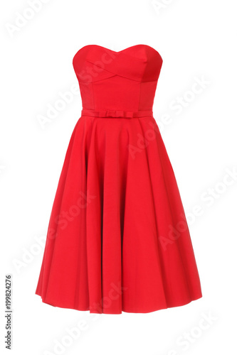 Cuadros en Lienzo Red dress  isolated on white background.