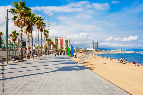 Photo Stands Barcelona Playa Barceloneta city beach, Barcelona