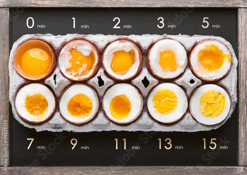 Fototapeta eggs in varying degrees of availability depending on the time of boiling eggs obraz