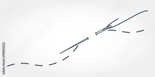 A vector illustration of needle with thread Fototapete