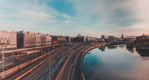 Photo  Stockholm Klarastrandsleden with a sunset in the beginning and railroad to Stock