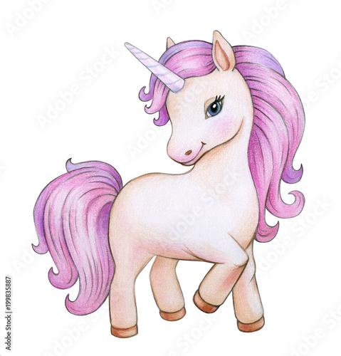 Cute unicorn cartoon, isolated on white.