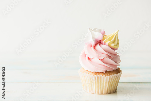 One cupcake on a wooden table. Copy space Canvas Print