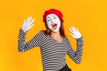 Portrait Of Cute Mime Woman Si...
