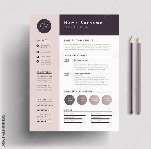 Beautiful CV / Resume template - elegant stylish design - dusty pink ...