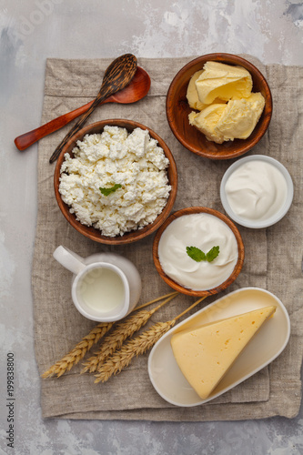 Staande foto Zuivelproducten Different types of dairy products on white background, top view, copy space
