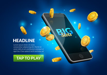 Mobile Casino Slot Game. Flying Phone Marketing Background For Casino Jackpot Slots Machine