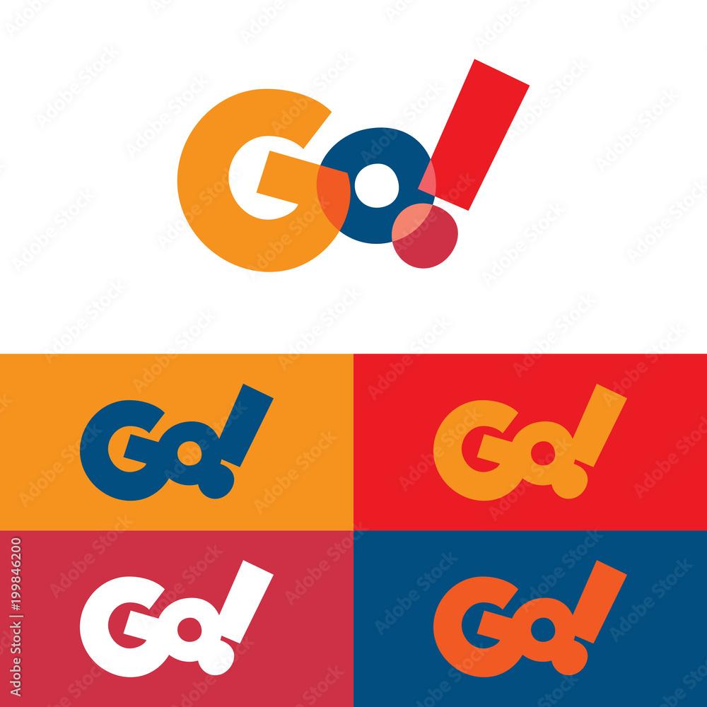 Fototapety, obrazy: Colorful Go Logo