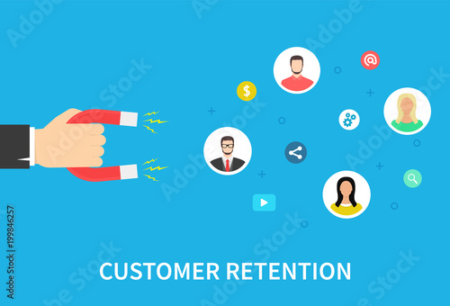 Photo Customer retention strategy, attract customers, customer support and service, digital marketing, flat vector banner infographics with icons