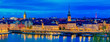 Panoramic sunset view onto Stockholm old town Gamla Stan and Riddarholmen church in Sweden