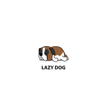 Lazy Dog, Cute Saint Bernard Sleeping Icon, Logo Design, Vector Illustration