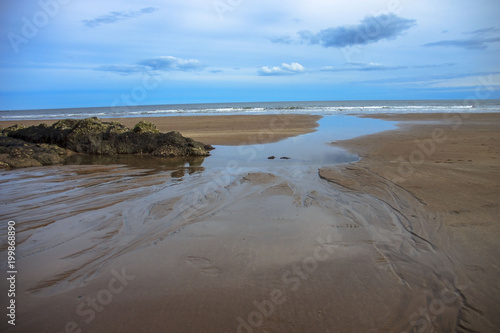 Spoed Foto op Canvas Noordzee Scottish landscape. St Cyrus beach. Angus, Aberdeenshire, Scotland, UK.