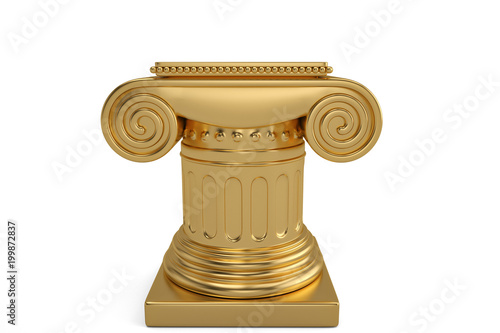 Valokuva  A golden pedestal isolated on white background. 3D illustration.