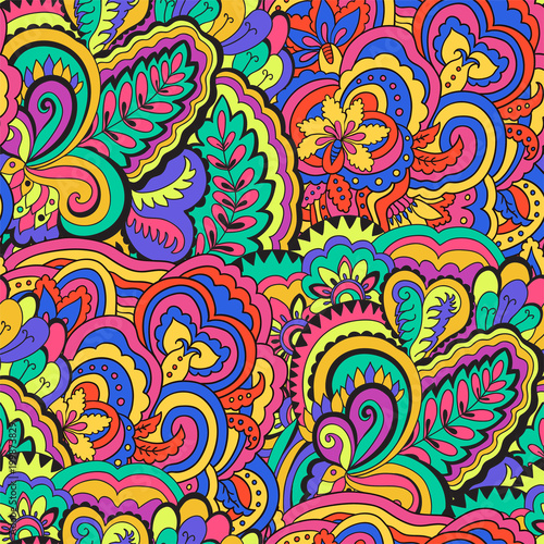 Abstract colorful seamless psychedelic pattern Wallpaper Mural