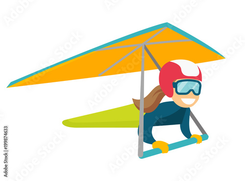 Caucasian white woman flying on hang-glider  Sportswoman