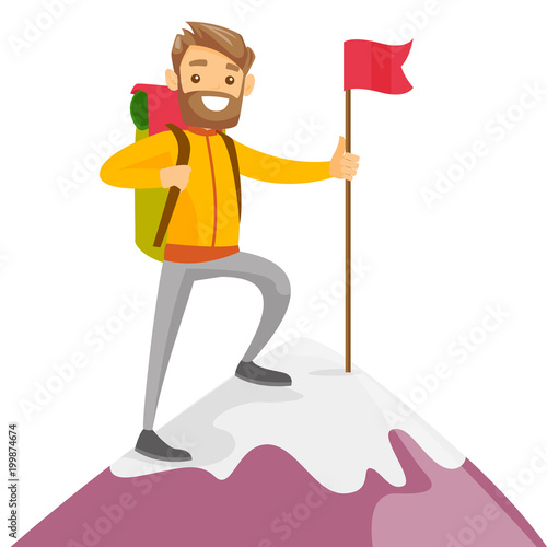 Cheerful caucasian white climber standing on the top of mountain with a red flag Wallpaper Mural