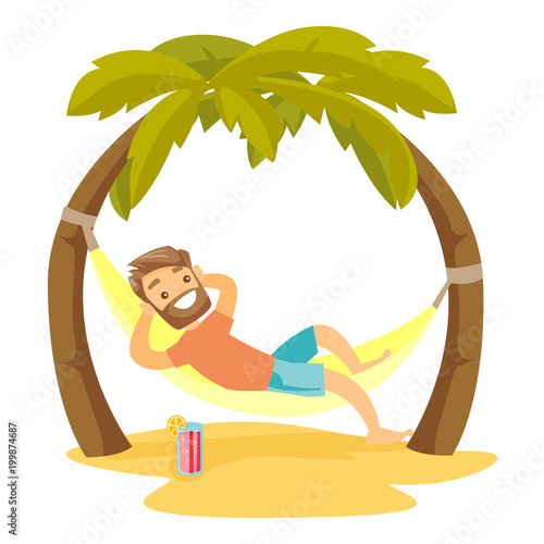 Young happy caucasian white man relaxing on the beach in a hammock under the palm trees. Hipster man lying in hammock on tropical beach. Vector cartoon illustration isolated on white background. Wall mural