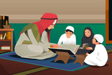 Imam Reading Quran With His St...
