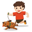 A Boy going to take the dog for a walk in park.