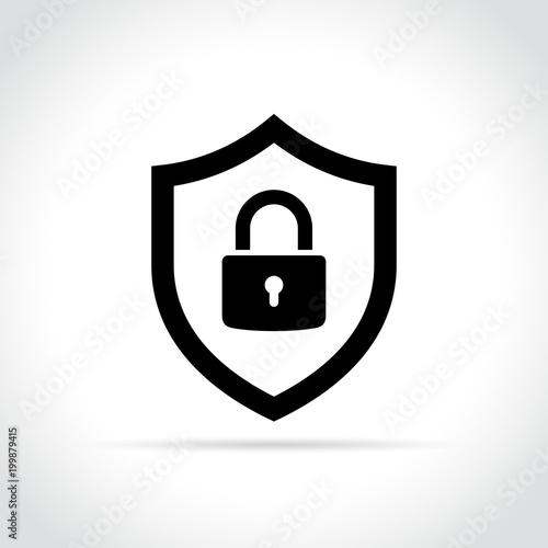 Carta da parati shield with padlock icon concept