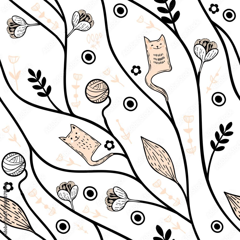 Wektorowy bezszwowy tło z wzorem geometryczni kwiaty. Kwiecisty tło. Lato w tle z projektem rośliny w skandynawskim stylu.