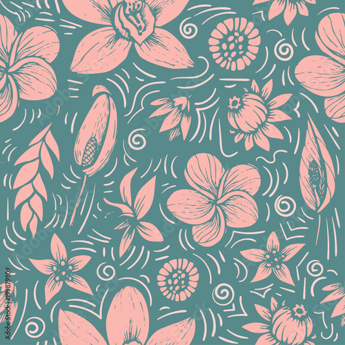 Cuadros en Lienzo vector seamless beautiful artistic bright tropical pattern with banana, Syngoniu