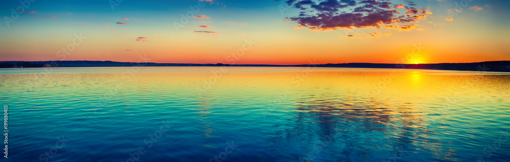 Fototapety, obrazy: Sunset over the lake. Amazing panorama landscape