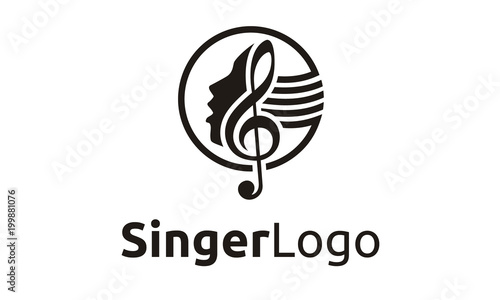 Photo Singer Vocal Choir with Music Notes - Singing Karaoke Woman Face Silhouette logo
