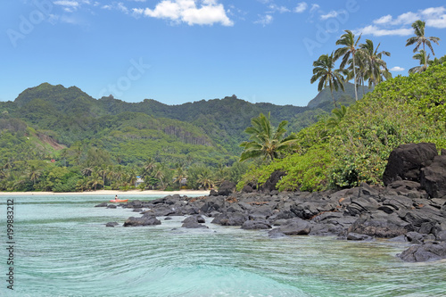 Spoed Foto op Canvas Eiland Landscape view from a boat of Muri lagoon beach in Rarotonga Cook Islands