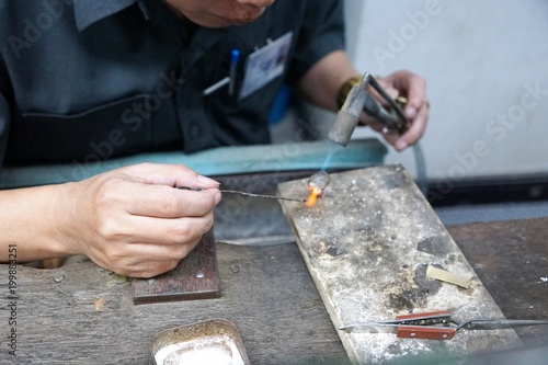 Fotografie, Obraz  Schmuck Manufaktur in Bangkok in Thailand