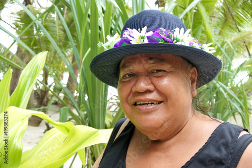 Happy old aged Polynesian Cook Islander woman smile in Rarotonga Cook Islands Canvas Print