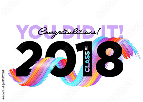 Fotografering  Congratulations Graduates Class of 2018 Vector Logo