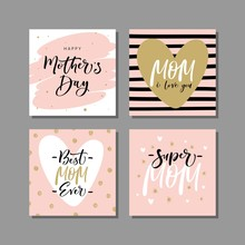 Set Of Cute Greeting Cards For Mother's Day With Modern Brush Calligraphy