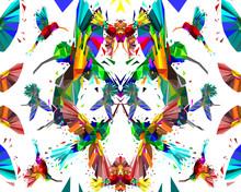 Low Poly Of Colorful Hummingbi...