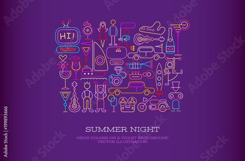 Staande foto Abstractie Art Summer Night vector illustration