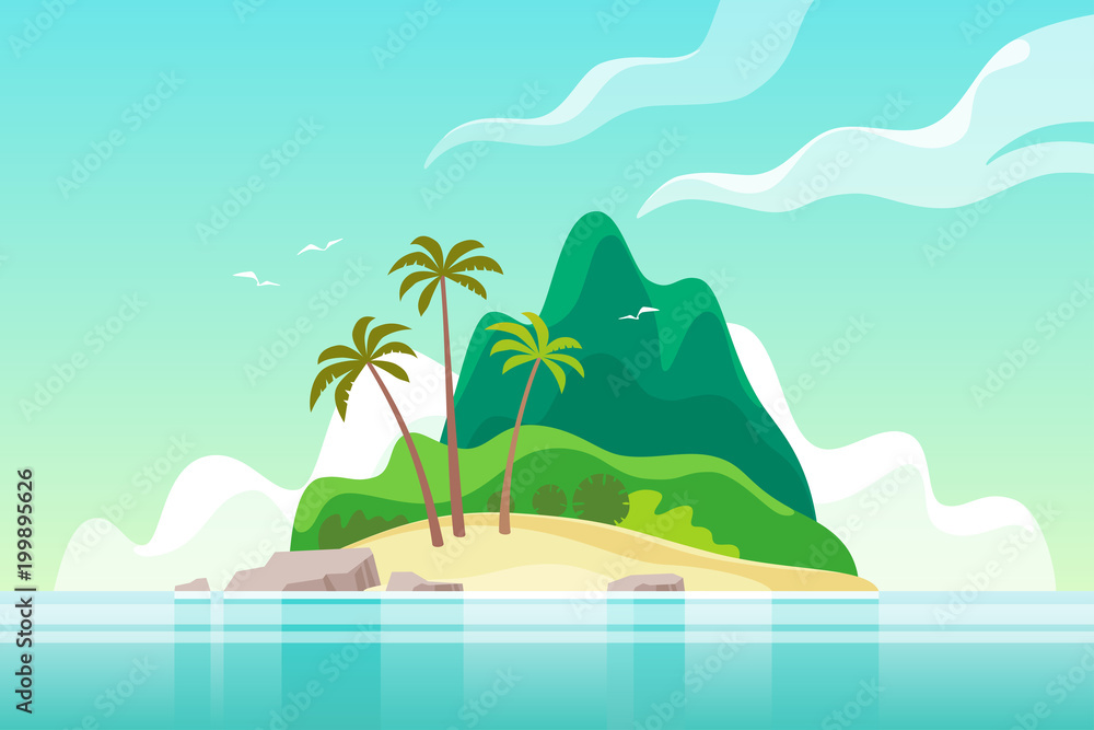 Fototapeta Tropical island with palm trees. Summer vacation. Vector illustration.