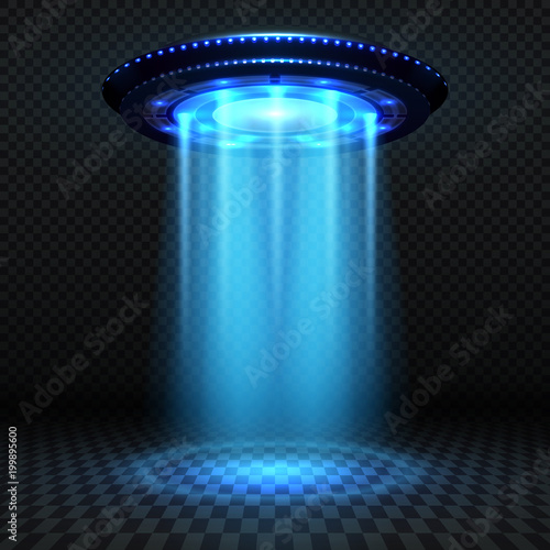 Photo Aliens futuristic spaceship, ufo with blue lights